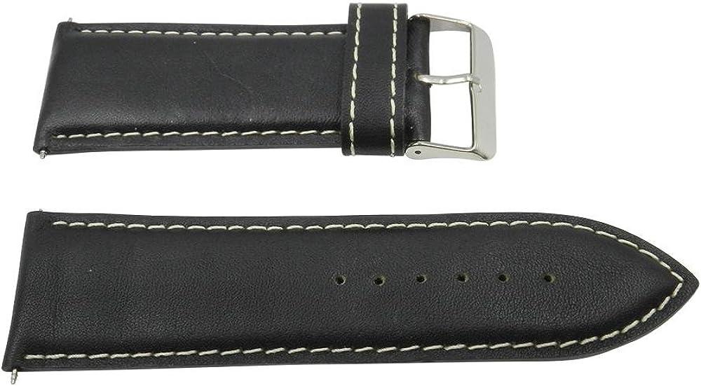 26mm Genuine Leather Black w/ Contrast Stitching Watch Strap