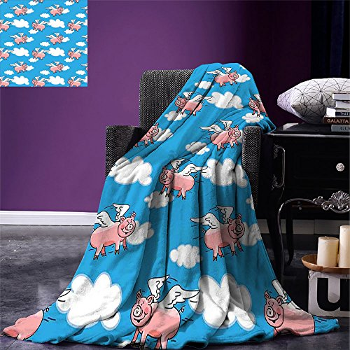 smallbeefly Pig Decor Throw Blanket Flying Pig Cartoon Characters With Wings to Represent the Saying Warm Microfiber All Season Blanket for Bed or Couch Great Kid Clouds