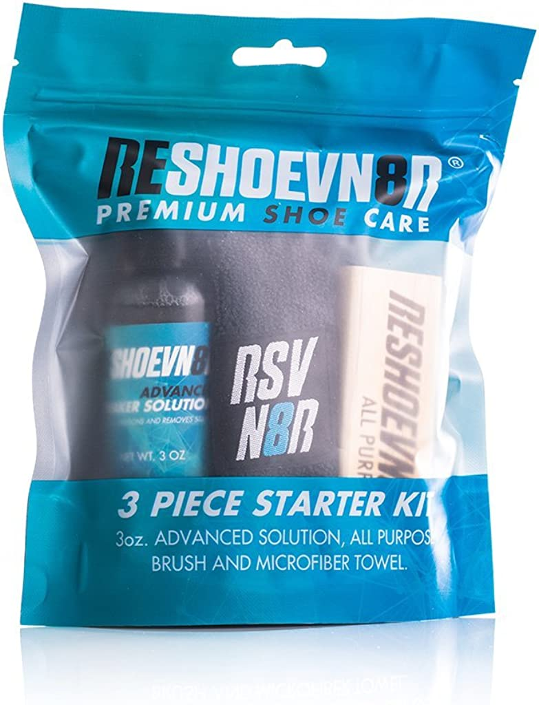 Reshoevn8r 3 Pc Starter Shoe Cleaning Kit - 3 Oz Bottle, Cleans Leather, White, and Canvas Sneakers