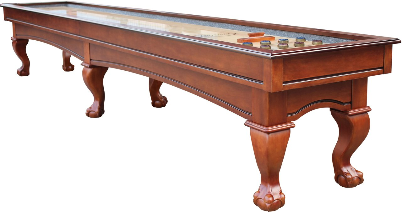 Playcraft Charles River 12' Pro-Style Shuffleboard Table with 3'' Butcher Block Playfield, Chestnut by Playcraft