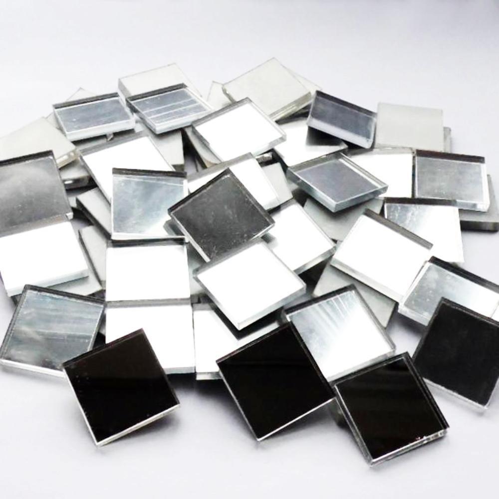 1cm Square Acrylic Mirror Mosaic Tiles - 50pcs Suave Petal