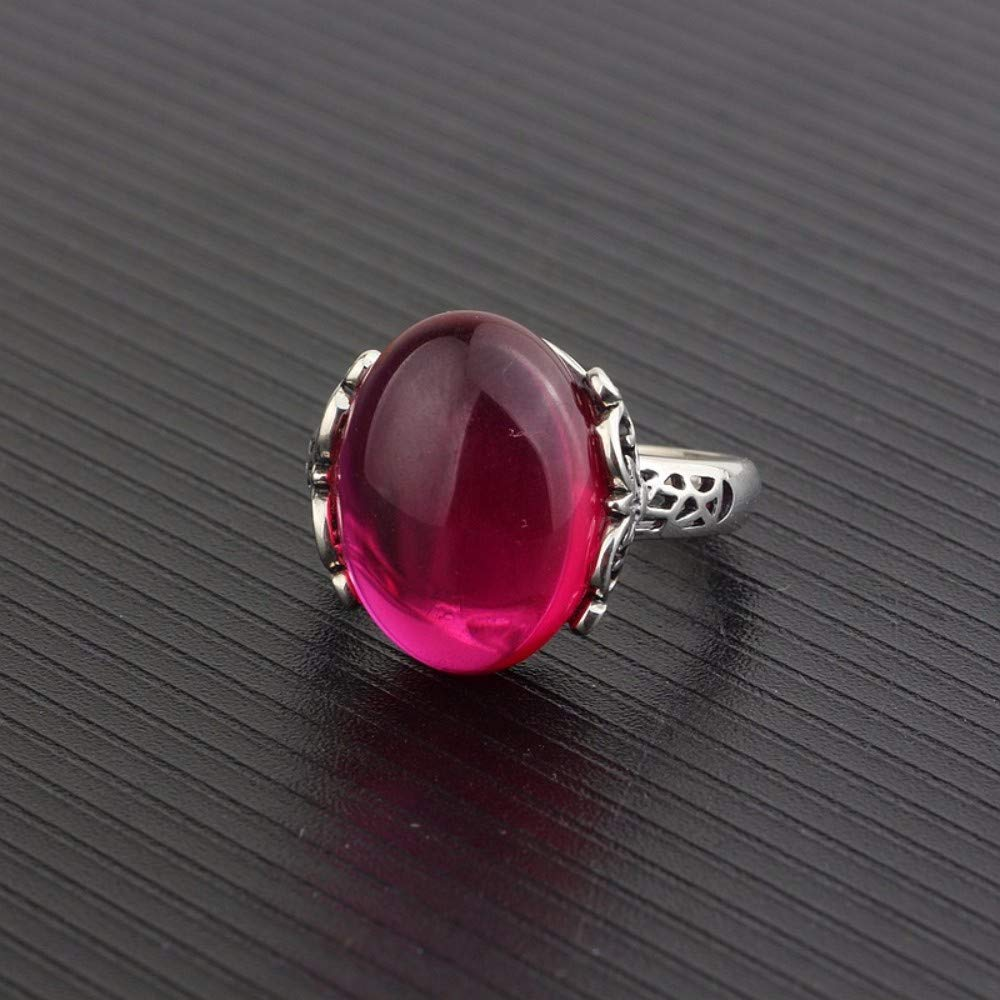 THTHT Vintage S925 Silver Ring Womens Opening Red Fused Alumina Oval Fashion Creative Gift Personality