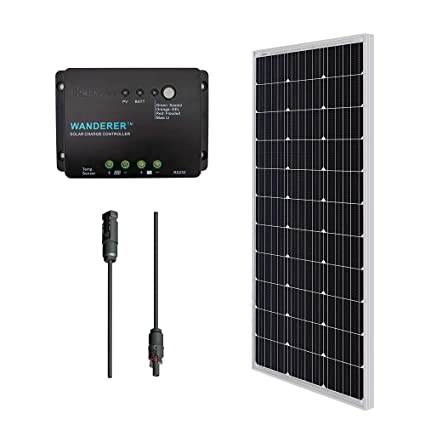 Renogy 100 Watts 12 Volts Monocrystalline Solar Panel Bundle Kit with 30A  Negative ground Charge Controller+9in MC4 Adaptor Kit