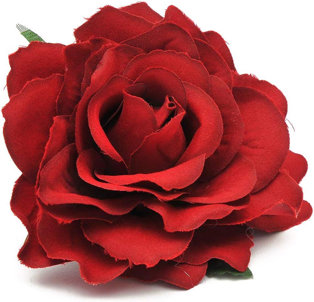 Damen Mode Doppel Seide Rose Blume Haarkamm Haarspange Hochzeit Braut Party