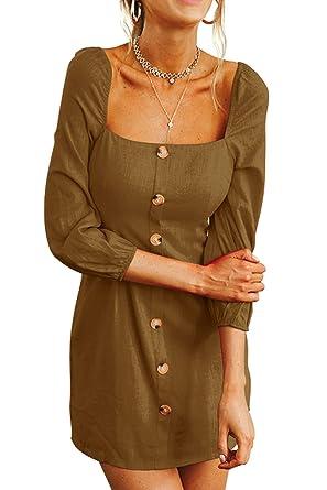 3d074862d8 FAFOFA Mini Dress Women Square Neck Puff Long Sleeve Linen Long Tunic T  Shirt Dress Khaki