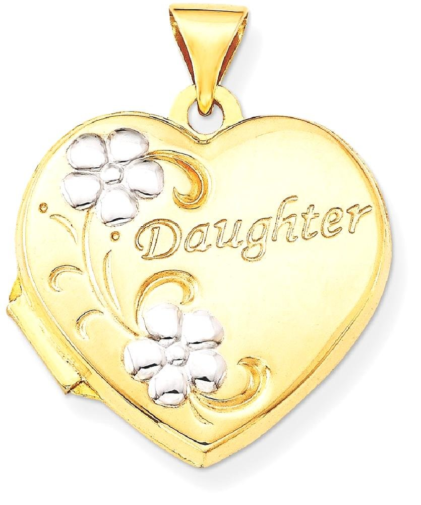 ICE CARATS 14k Yellow Gold Daughter Floral 18mm Heart Photo Pendant Charm Locket Chain Necklace That Holds Pictures Fine Jewelry Gift Set For Women Heart
