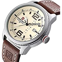 Men's Quartz Military Sports Watches Men Date Clock Man Casual Leather Big dial Wrist Watch N9063S (Silver)