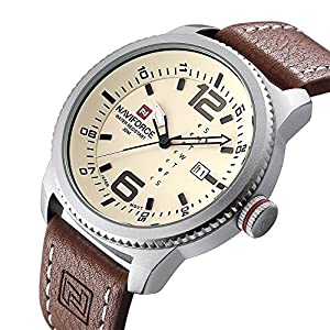 Men Military Sports Watches Men's Quartz Date Clock Man Casual Leather Wrist Watch N9063S