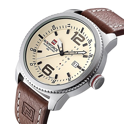 Men Military Sports Watches Men's Quartz Date Clock Man Casual Leather Wrist Watch N9063S