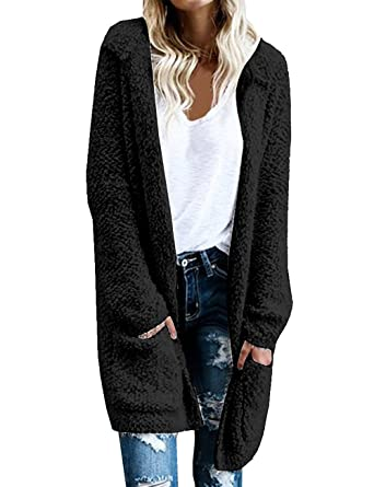 SEENFUN Women's Warm Open Front Long Thick Outerwear Winter Hooded ...