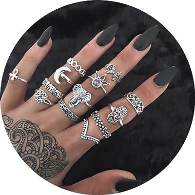 13 piezas vintage anillos Moon Flower Elephant Aleación Fashion Lady Midi Ring Set: Juguetes y juegos