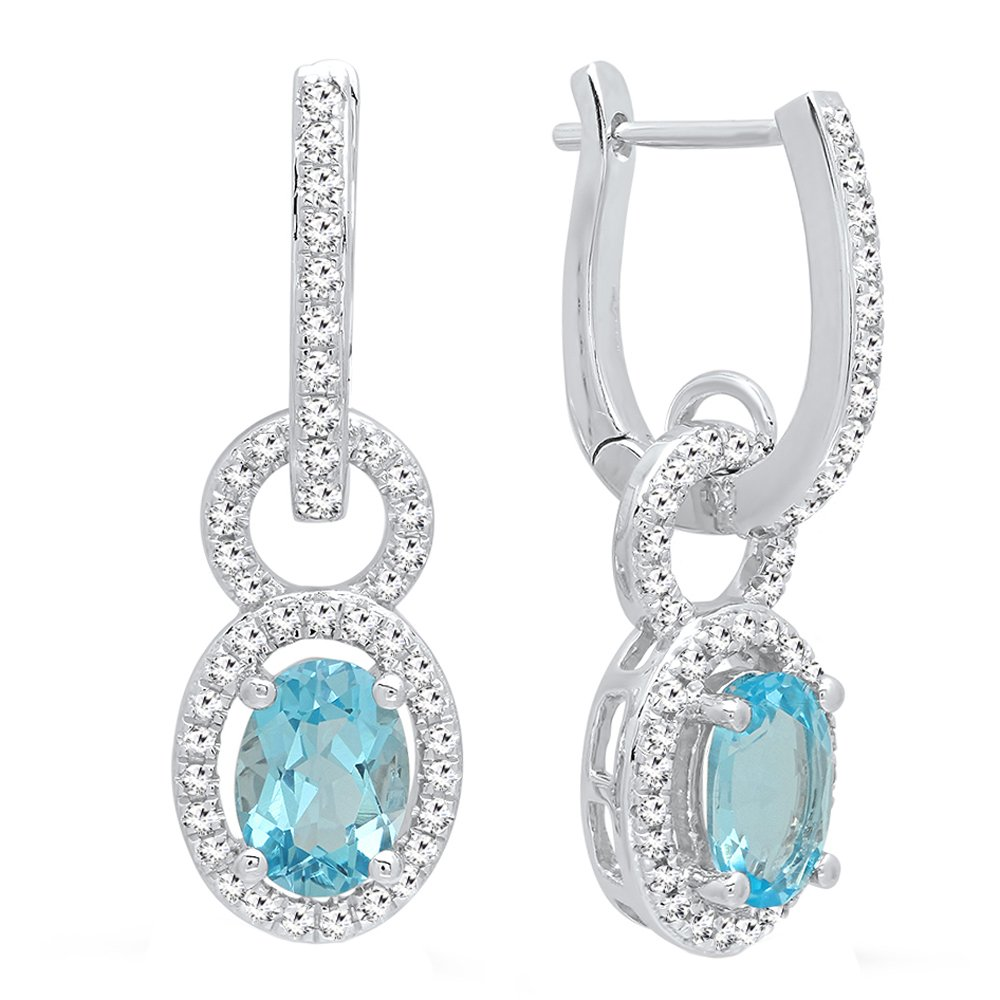 14K White Gold 7X5 MM Oval Cut Blue Topaz & Round Cut White Diamond Ladies Dangling Earrings