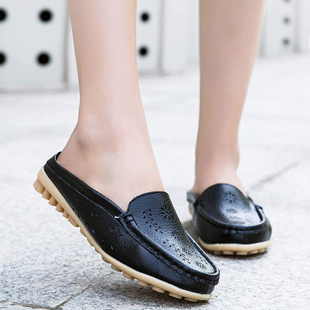 ✔ Hypothesis_X ☎ Womens Retro Backless Slip On Loafer Flats Pointed Toe Mules Low Heel Dress Slipper Shoes Black by ✔ Hypothesis_X ☎ Shoes (Image #3)