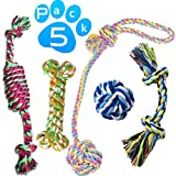 #9: Hhusali Dog Toys 5 Pack Gift Set, Ball Rope and Chew Toys for Medium to Small Doggie