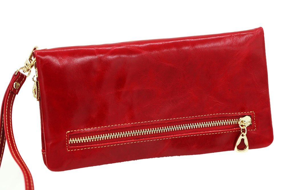 Womens Lady Blocking Wallet Classic Clutch Leather Wallet Card Holder Purse Handbag Red