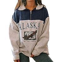 Mujeres Alaska Letra Impresión Sudadera Suelta Casual Manga Larga Hip Hop Alto Cuello Redondo Cremallera Águila Gráfico…