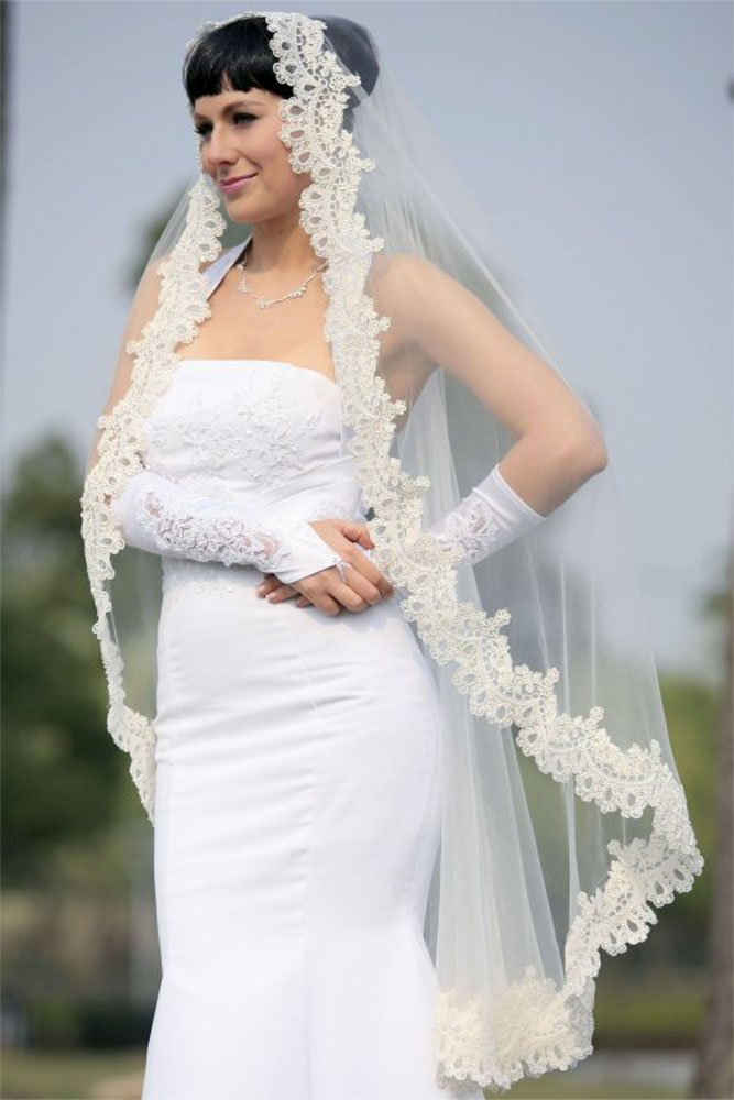 Bridal Wedding Mantilla Veil Ivory 1 Tier Long Knee Length Beaded Lace Edge
