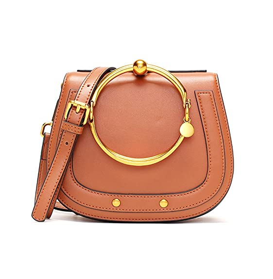 Ainifeel Women's Genuine Leather Fashion Small Top Handle Handbags And Purses With Metal Ring Handle (Brown)