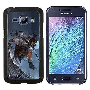 Caucho caso de Shell duro de la cubierta de accesorios de protección BY RAYDREAMMM - Samsung Galaxy J1 J100 - ASIÁTICO GUERRERO HOMBRE