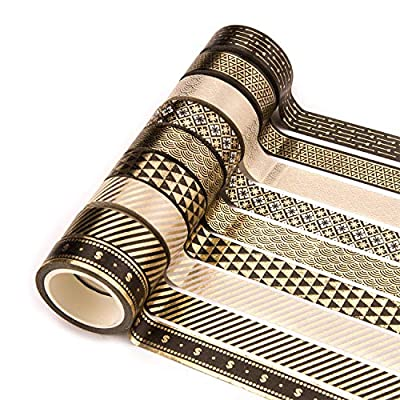 Yubbaex 10 Rolls Washi Tape Set Black Gold Foil Print Decorative Tapes for Arts, DIY Crafts, Bullet Journals, Planners, Scrapbook, Wrapping (15mm) by Yubbaex