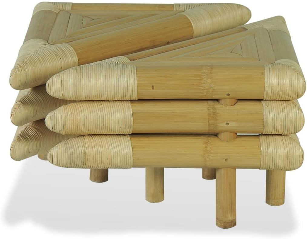 Festnight 2 Pcs Table de Chevet Bambou Naturel 60 x 60 x 40 cm Design Simple