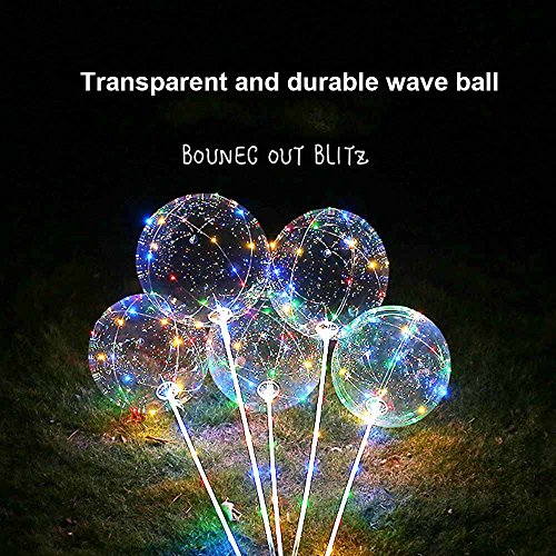 SUNKY 5pcs LED Light up Bobo Balloons, Latex Clear Transparent Round Bubble Colorful Flash String Decorations Wedding Room Courtyard Kids Birthday Party Set Glow Christmas Decor with Ball Pump by SUNKY (Image #7)