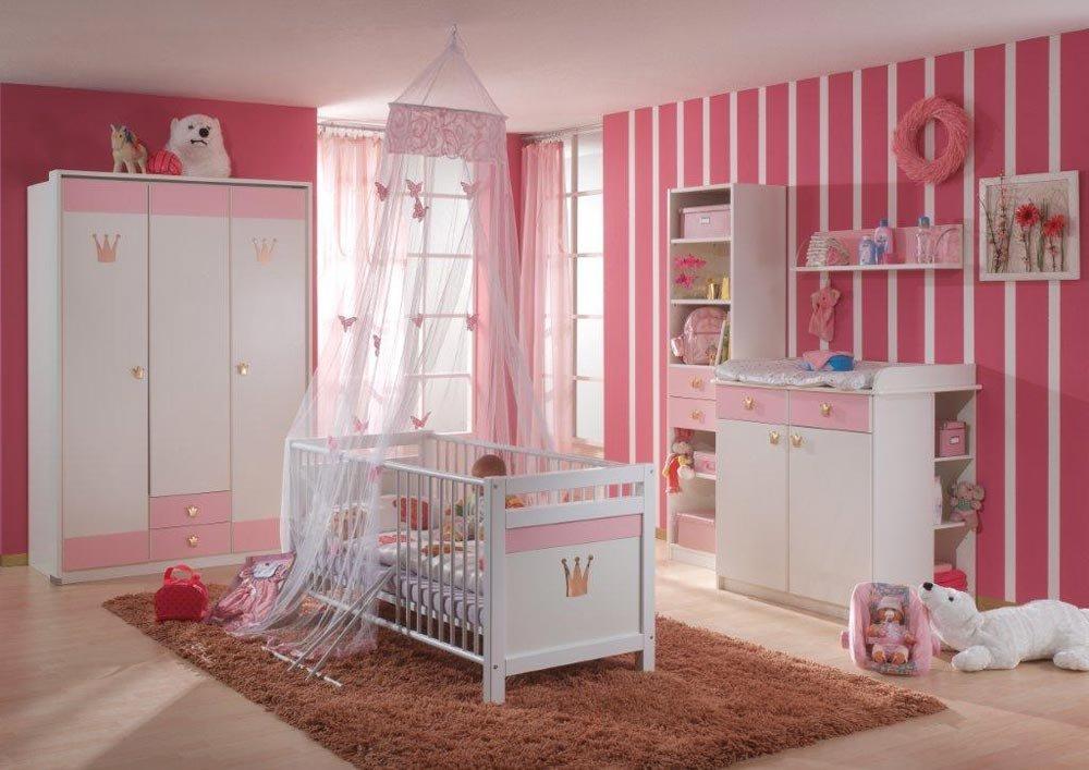 Babyzimmer 6-tlg. in Weiß/Rose, Schrank B: 139 cm, Regal B: 47 cm, Hängeregal B: 82 cm, Kinderbett 70 x 140 cm, Wickelkommode B: 91 cm, Regal B: 32 cm