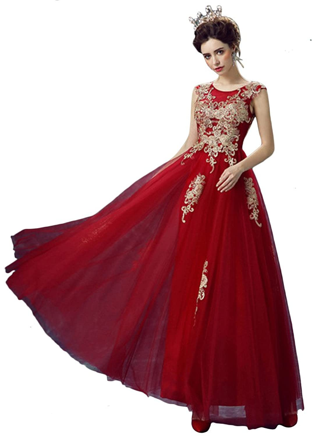 Vimans? Girl's Long Dark Red Sleeveless Scoop Dresses with Lace Appliques