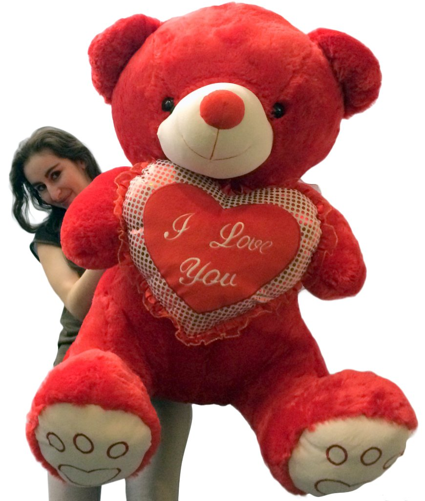 Fesselnd Amazon.com: Giant Valentines Day Red Teddy Bear Soft With Bigfoot Paws  Holds I LOVE YOU Heart Pillow: Toys U0026 Games