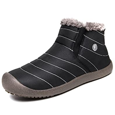 f914dee2f6af FiveStoresCity Women Men Snow Boots Slip on Winter Shoes Outdoor Slippers  Fully Fur Lined Ankle Booties