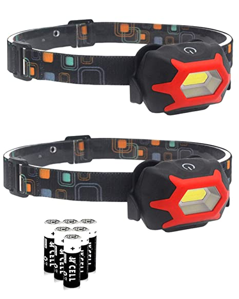 2Pcs LED Headlamp Flashlight Single Mode Super Bright COB Headlight with AAA Batteries Included