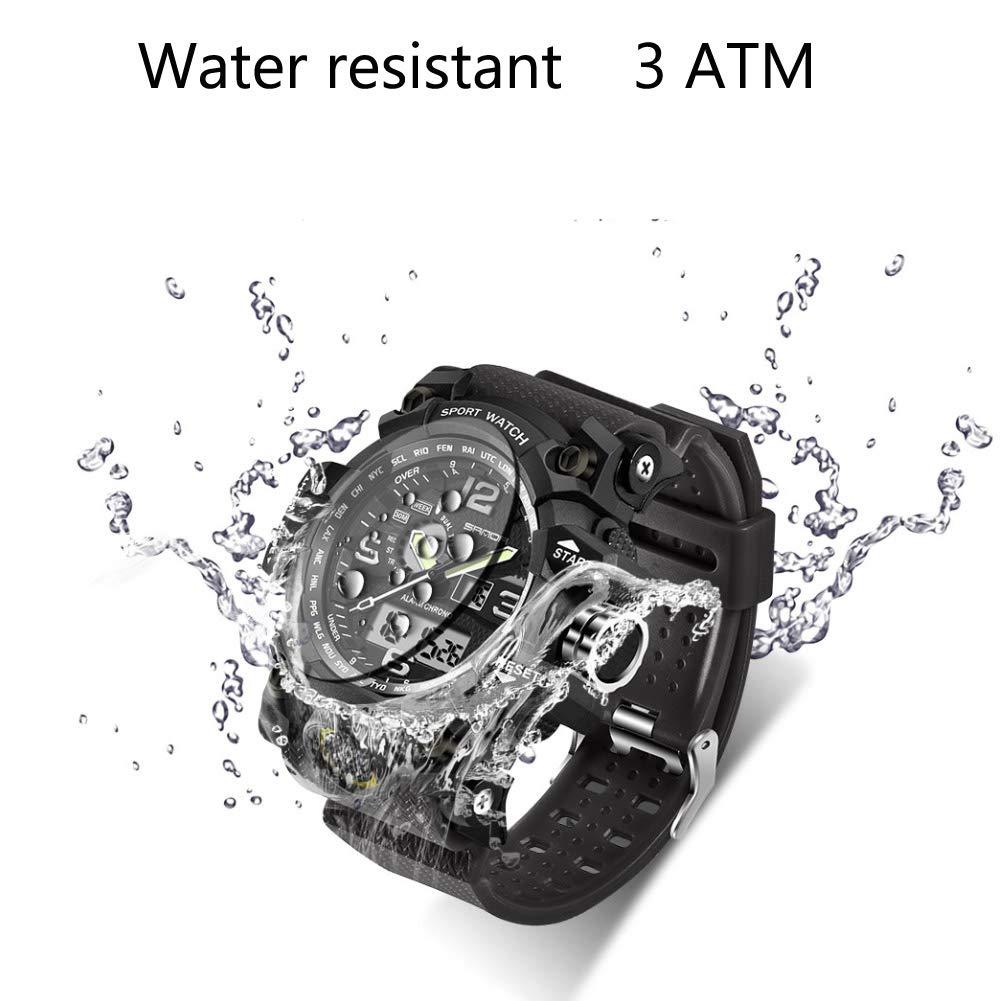 Men's Military Watch, Dual-Display Waterproof Sports Digital Watch Big Wrist for Men with Alarm (Black) by WISHFAN (Image #4)