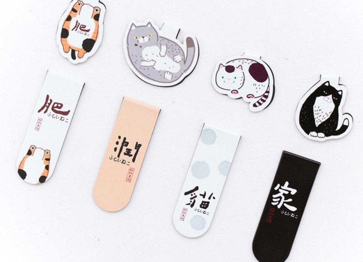 Kelaina Creative Segnalibri del magnete di stile sveglio del modello del gatto di 4Pcs