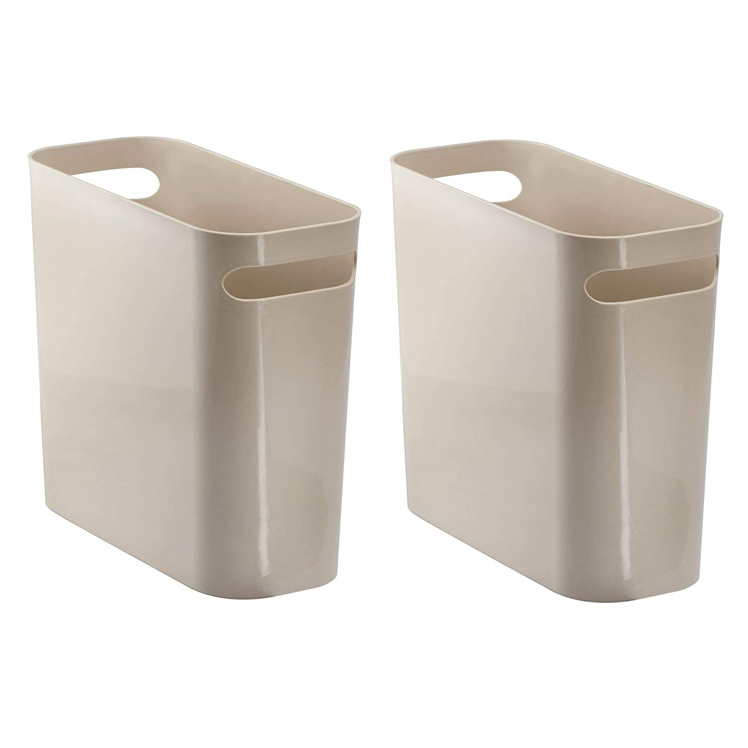 "mDesign Slim Plastic Rectangular Small Trash Can Wastebasket, Garbage Container Bin with Handles for Bathroom, Kitchen, Home Office, Dorm, Kids Room - 10"" high, Shatter-Resistant, 2 Pack - Dark Brown Kids Room - 10"" high MetroDecor"