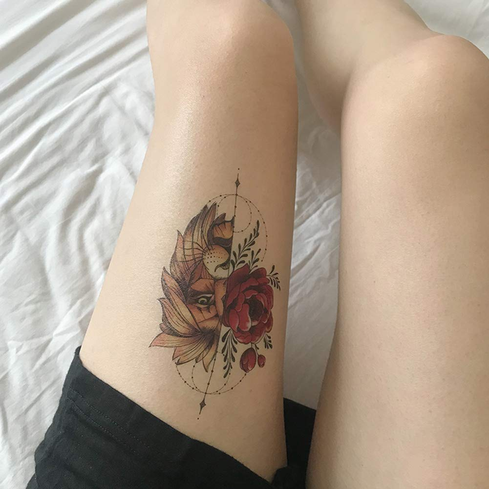 Etiqueta Engomada Del Tatuaje Leo BoonePersonalidad Flash Rose Y ...