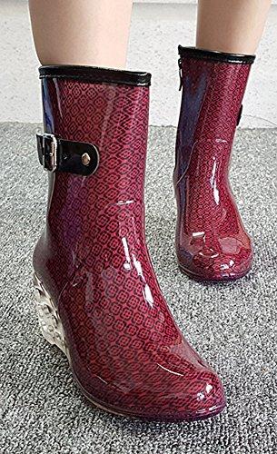 Lluvia Agua Lateral de Botas Botas con Cremallera Vino Cuñas Impermeable Transparente Hebilla Cuatro tinto Zapatos Estaciones de Antideslizantes Moda Wealsex Mujer xOPTFwvqW0