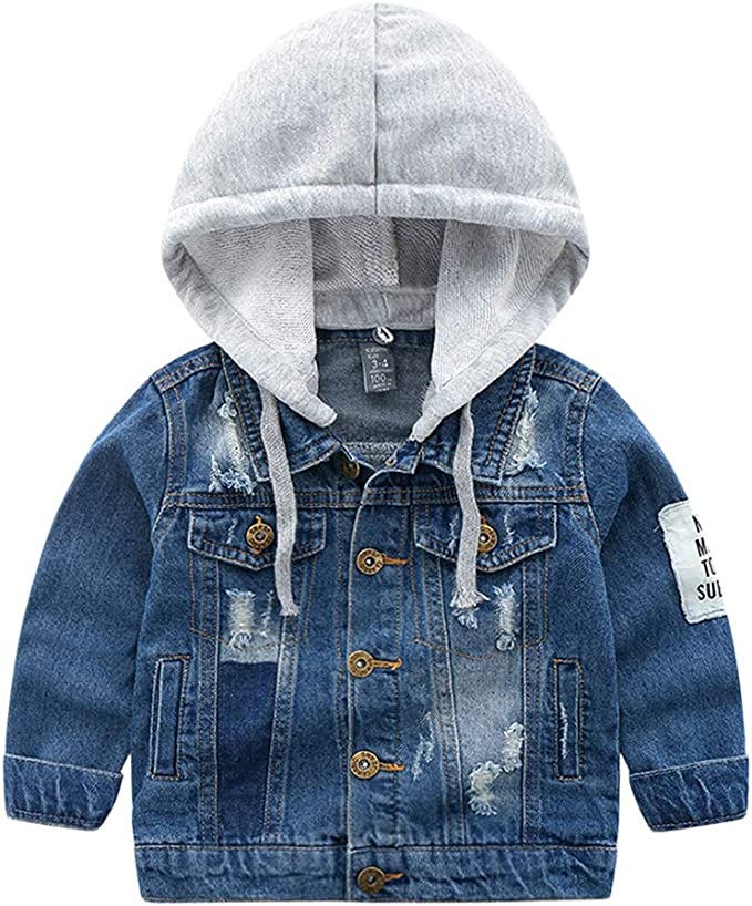 Abolai Baby Boys Basic Denim Jacket Hoodie Button Down Jeans Jacket Top