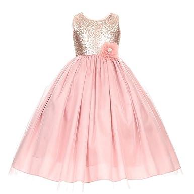 c56643d4ef Big Girls Dusty Rose Corsage Sequin Shiny Tulle Junior Bridesmaid Dress 8