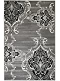 "SUMMIT BY WHITE MOUNTAIN Summit GW-0QYR-0ZI1 New Elite 52 Royal Damask Boroque Vintage Look Area Rug Grey White Black Many Sizes Available, 4 x 5 Actual is 3′.8""x5′ Review"