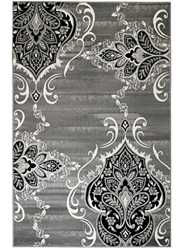 SUMMIT BY WHITE MOUNTAIN Summit GW-0QYR-0ZI1 New Elite 52 Royal Damask Boroque Vintage Look Area Rug Grey White Black Many Sizes Available, 4 x 5 Actual is 3'.8''x5'