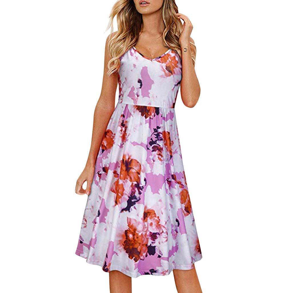 Shusuen Womens Dresses Summer Tie Back V-Neck Spaghetti Strap A-Line Backless Swing Midi Dress Pink by Shusuen_Clothes