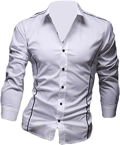 Hombres Manga Larga Camisa Camisa Formal de Moda Color sólido ...