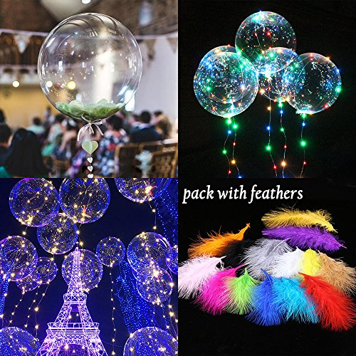 5 Blinking Leds Garden - LED Transparent Balloons Flashing with Colorful Blinking Light Feathers and ribbons 1Pcs/3Pcs/5Pcs for Birthday Wedding Halloween Christmas Newyear Party Decoration (5 Pack)