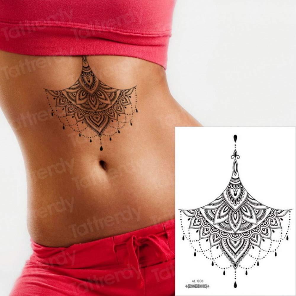 Handaxian 3pcsGeometric Tattoo Sketch Flower Lotus Sticker Sternal ...
