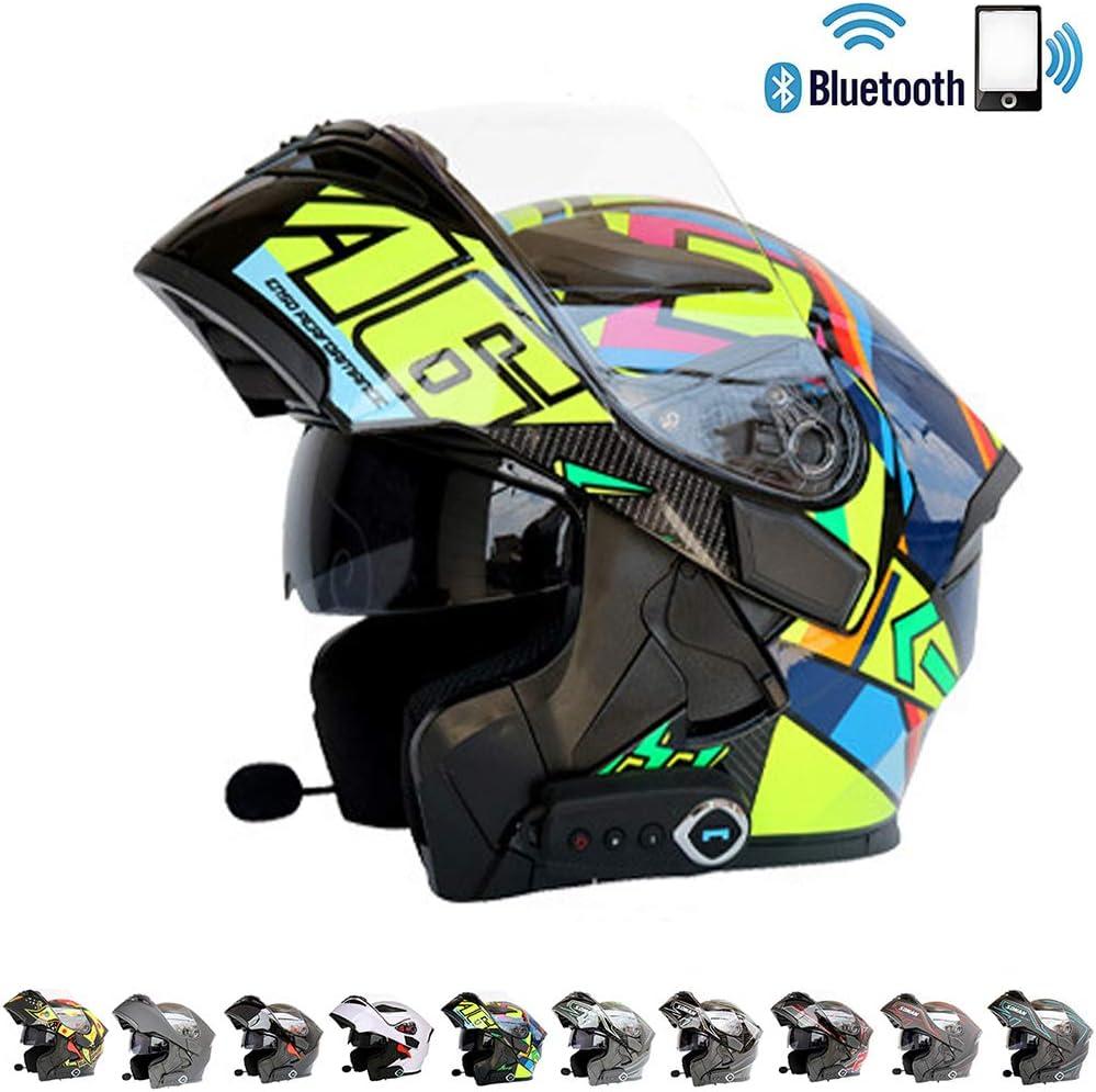C-TK Bluetooth Integrado Modular Casco de la Motocicleta ECE 22.05 certificaci/ón Dot Seguridad est/ándar-Cara Completa Racing Casco de la Motocicleta General