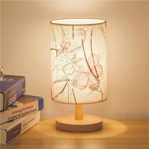 Veilleuse lampe de table chambre lampe de chevet en bois massif fleur orange bouton interrupteur
