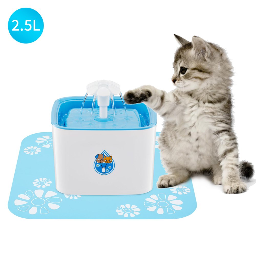 Pet Fountain Cat Water Dispenser Healthy and Hygienic Drinking Fountain 2.5L Super Quiet Flower Automatic Electric Water Bowl with Triple-Action Filter for Dogs, Cats, Birds and Small Animals