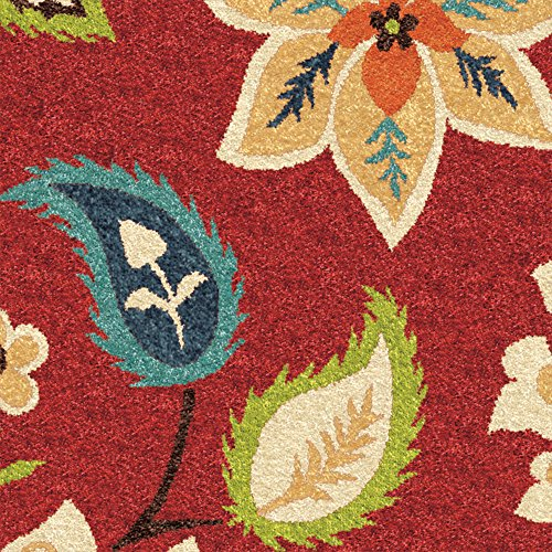 (Orian Rugs Indoor/Outdoor Floral Garden Chintz Red Area Rug (5'2