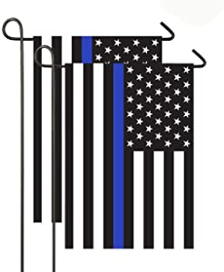 DANF 2 Pack Thin Blue Line American 12x18-Inch Garden Flag Made of Durable Polyester