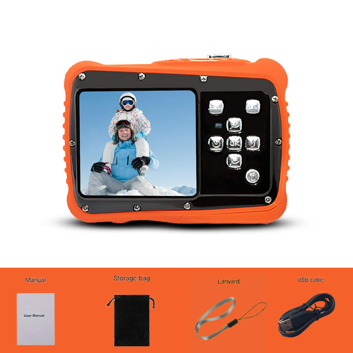 Underwater Action Digital Camera Camcorder for Kids, waterproof 3M/9.8ft, 5 MP CMOS 12MP 1080p, Orange by Oikkei (Image #6)